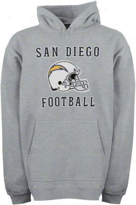 San Diego Chargers Youth Grey Helmet Logo Applique Hooded Sweatshirt