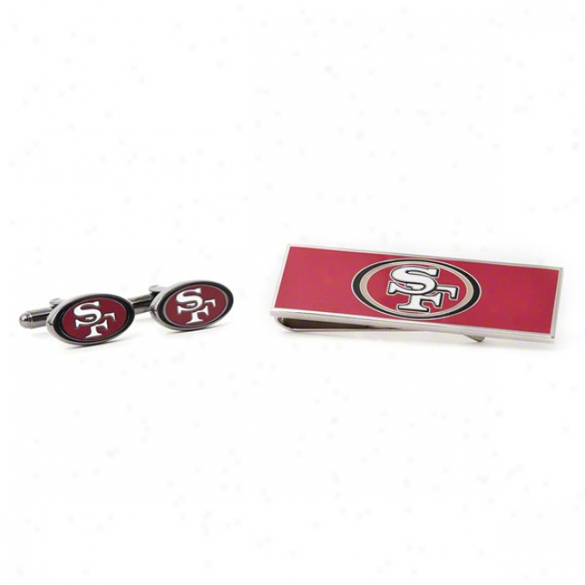 San Francisco 49ers Cufflinks And Money Clip Gift Set