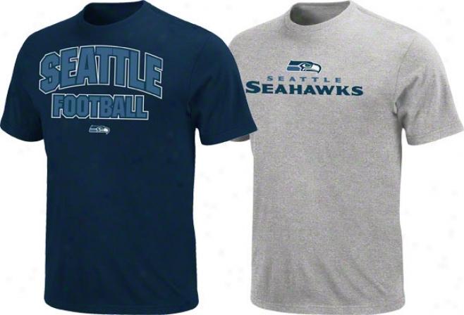 Seattle Seahawks Navy/steel 2 T-syirt Combo Pack