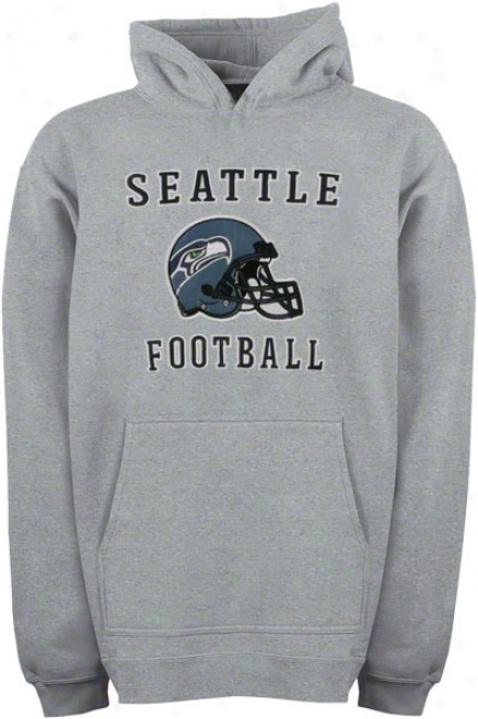 Seattle Seahawks Youth Grey Helmet Logo Applique Hooded Sweatshirt