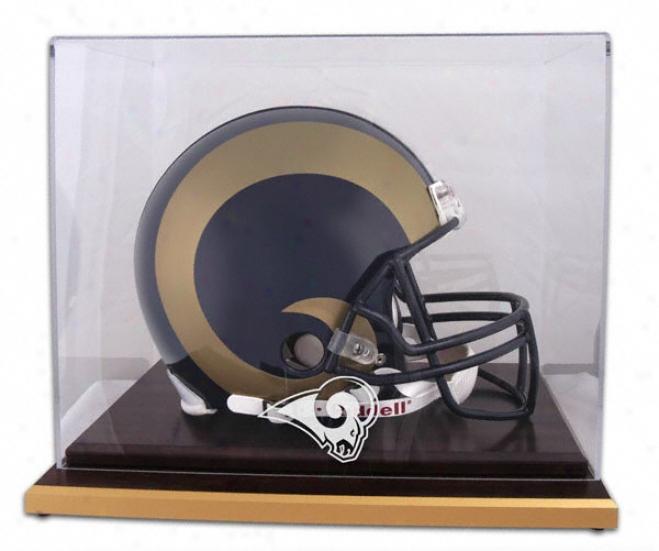 St. Louis Rams Logo He1met Display Case Details: Wood Base, Mirrored Hindmost