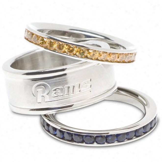 St Lpuis Rams Team Logo Crystal Stacked Ring Set