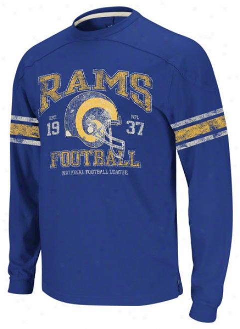 St. Louis Rams Vintage Appliquãƒâ© Long Sleeve Blue T-shirt