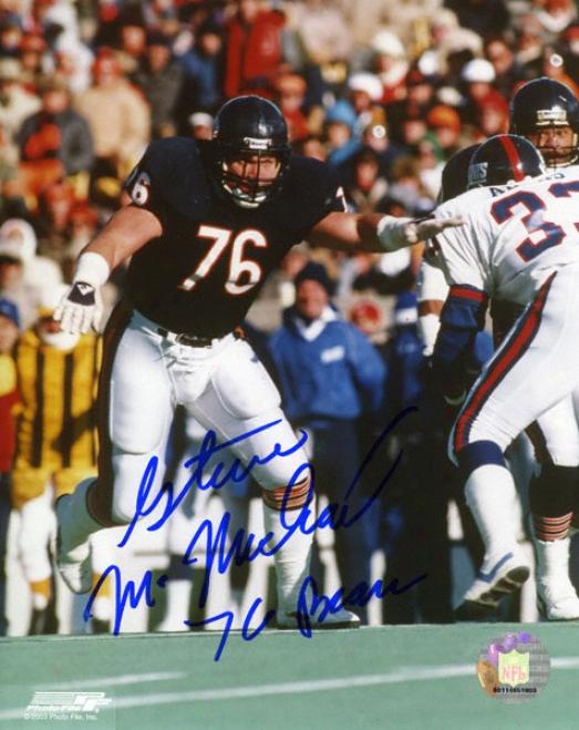 Steve Mcmichael Chicago Bears Action 8x10 Autographed Photograph