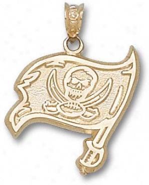 TampaB ay Buccaneers 10k Gold Flag 3/4'' Pendant