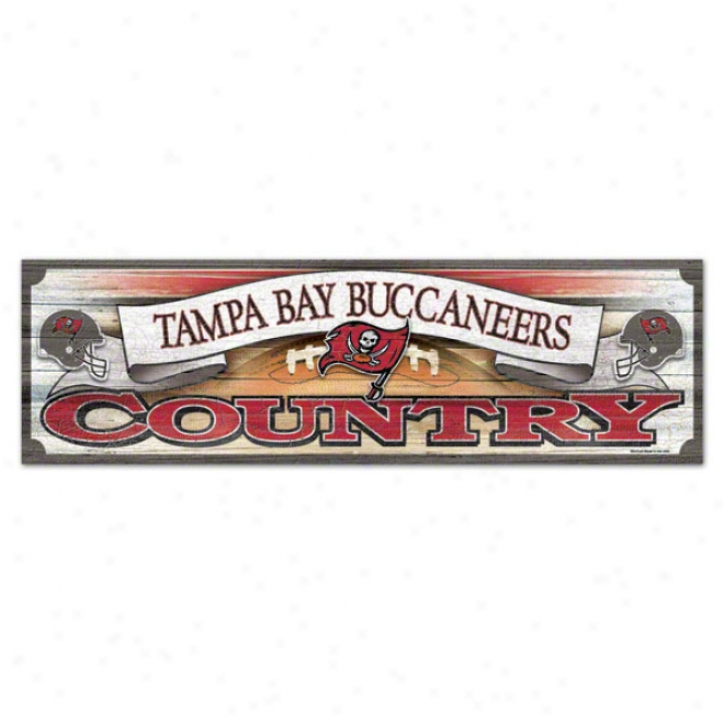 Tampa Baywood Buccaneers 9x30 Wood Sign