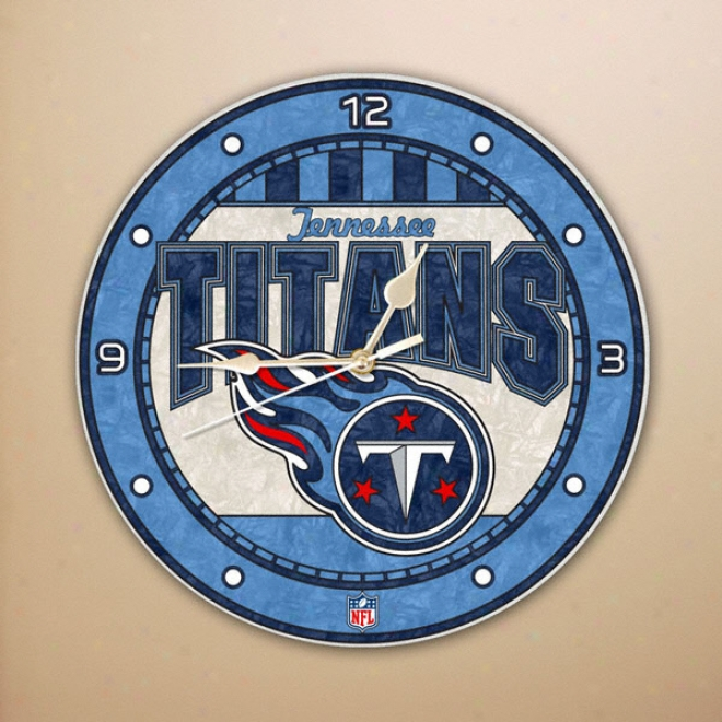 Tennesse Titans 12in Glass Wall Clock