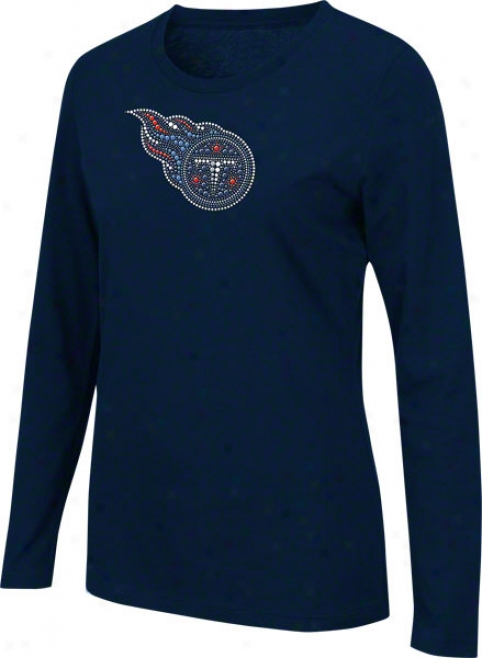 Tenneqsee Titans Women's Jazzed Up Navy A ~ time Sleeve T-shirt