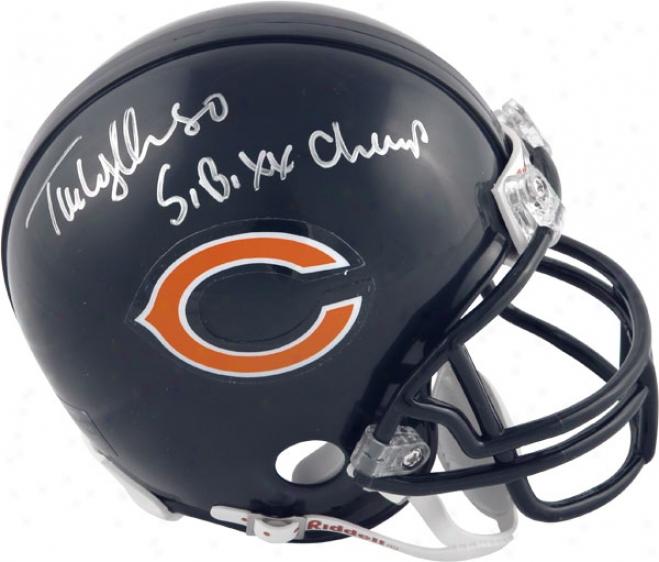 Tim Wrightman Chicagoo Bears Autographed Mini Helmrt With Sb Xx Champs Inscription