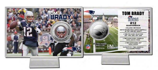 Tom Brady Coin Card: New England Patriots Sipver Coin Card
