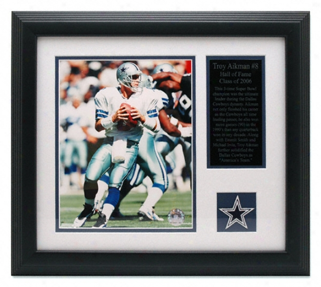 Troy Aikman Dallas Cowboys Frammed 8x10 Photograph With Team Medallion And Descriptive Plate