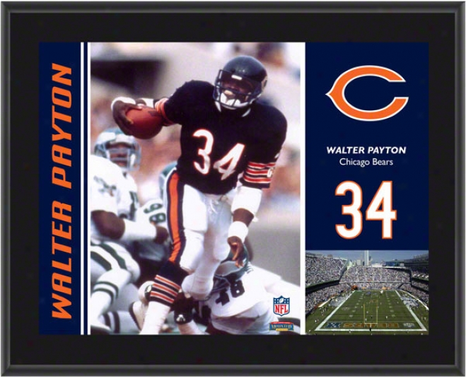 Walter Payton Flat plate of metal  Details: Chicago Bears, Sublimated, 10x13, Nfl Flat plate of metal