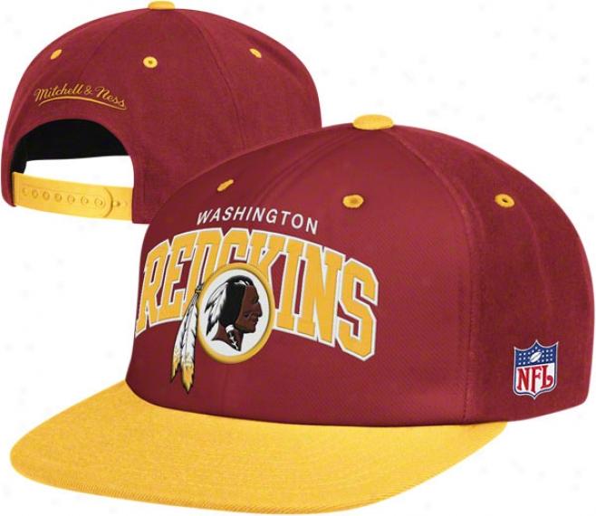 Washington Redskins Mitchell & Ness Throwback Arch W/logo Snapback Hat