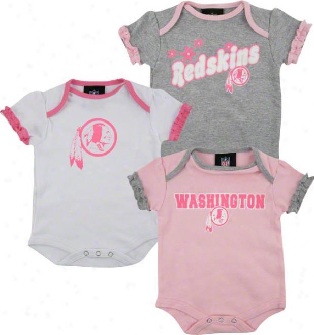 Washington Redskins Newborn 3-piece Pink Creeper Set