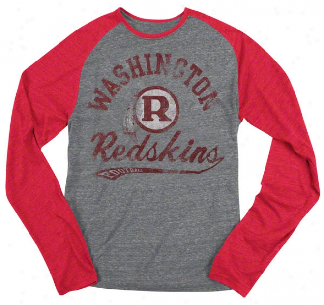 Washington Redskins Retro Sport The Big Sweep Tri-blend Grey/redheathered Long Sleeve Raglan T-shi5t