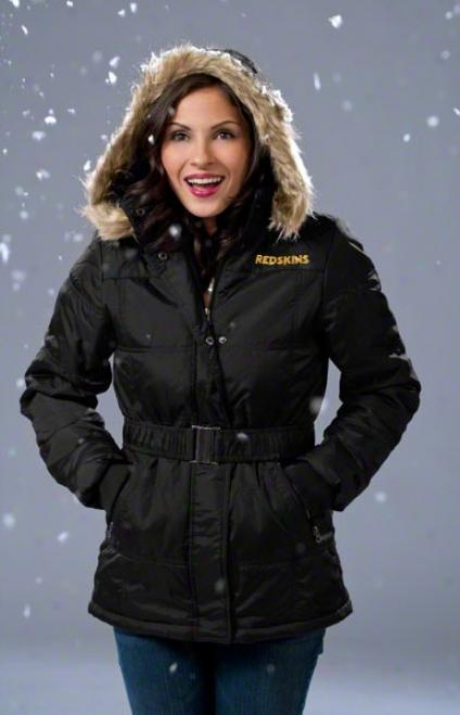 Washington Redskins Women's Full-zip Polyfill Belted Parka Jacket