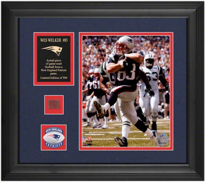 Wes Welker New England Patriots Framed 8x10 Photograph With Courageous Used Football Piece And Descriptive Plate