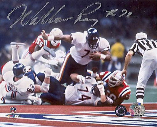 William Perrg Autographed Bears Sb Xx Touchdown 8x10 Phorograph