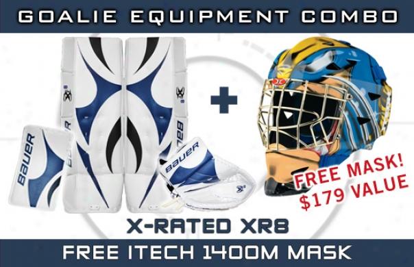 Bauer X-rated Xr8 Int. Goalie Equipment Combo W/ Itech 1400m Mask