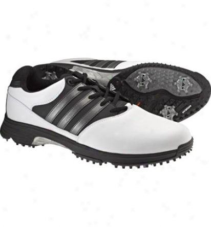 Adidas Mens Aidcomfort 2 - White/black/dark Metallic Silver Golf Shoss