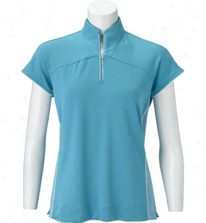 Adidas Womens Short Sleeve C Mesh Piped Mock