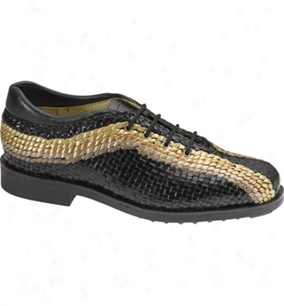 Aerogreen Golf Shoes Womens Hand Woven Leather Golf Shoes (black/gold)