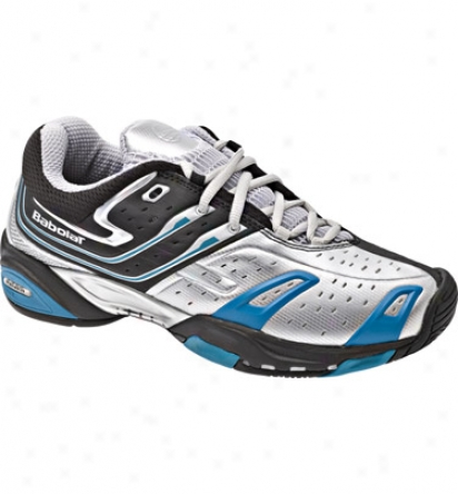 Babolat Mens Team All Court 4 Invert Tennis Shoes (silver/black/blue)