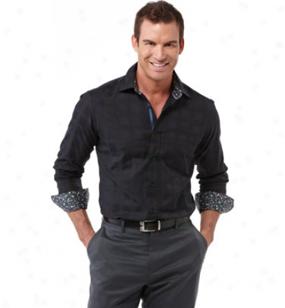 Bugatchi Mens Tonal Design Woven Shirt