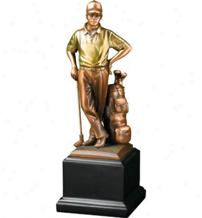 Clubhouse Collection Bronzed Male Golfer Statue, 11 In. X 4 In.