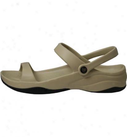 Dawgs Premium Womens 3 Strap Sandal - Tan/black Accidental Shoe