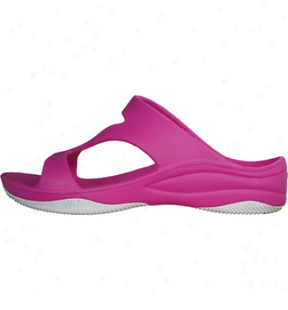 Dawgs Premium Womens Z Sandal With Rubber Sole - Hot Pink/white Casual Shoe