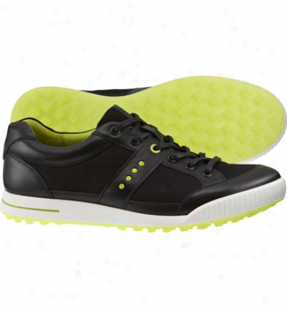 Ecco Mens Street Textile - Black/black Golf Shoe