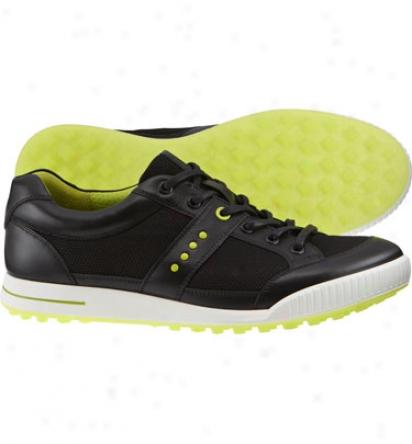Ecco Mens Street Textile - Black/black Golf Shoe