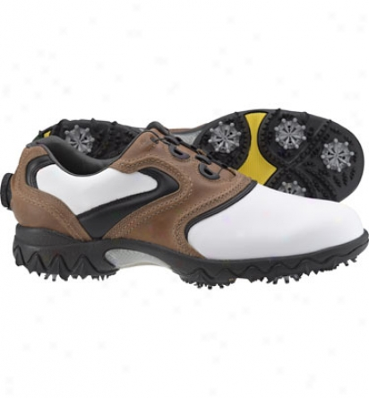 Footjoy Mens Contour Series - White/brown/black Boa Golf Shoes (fj#54073)