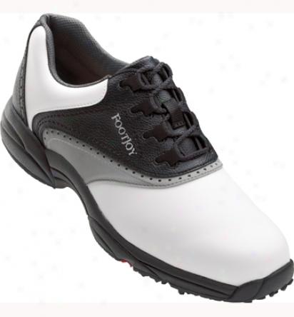 Footjoy Mens Greenjoys Golf Shoes (white/black/gray) - Fj# 45415