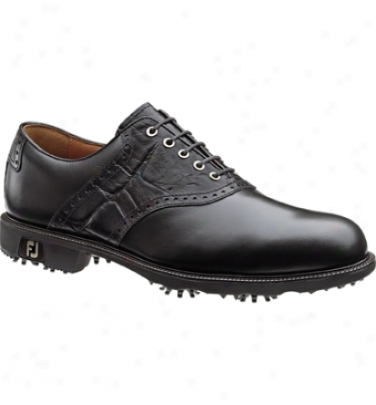 Footjoy Mens Icon Golf Shoes (black/black Croc) - Fj# 52054