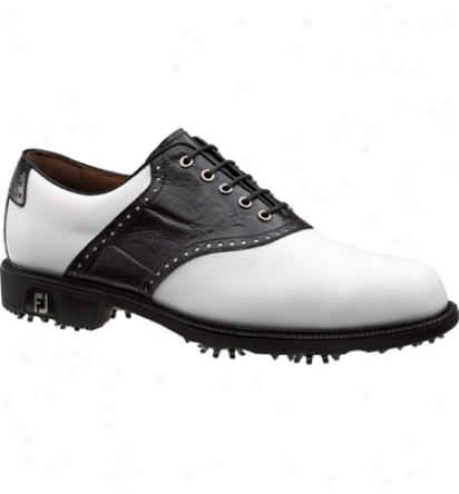 Footjoy Mens Icon Golf Shoes (white/black Croc) - Fj# 52039