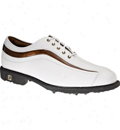 Footjoy Mens IconG olf Shoes (whitebronze Wave) - Fj# 52347