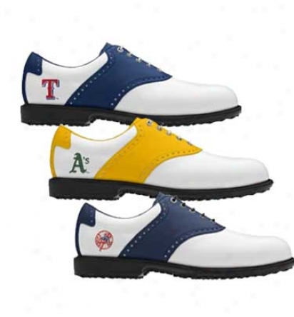 Footjoy Mens Mlb Professional Spikeless Traditional Saddle Myjoys Golf Shoss - Fj# 52240