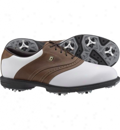 Footjoy Mens Superlites - White/taupe Golf Shoes (fj#58141)