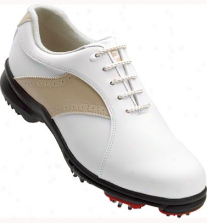 Footjoy Womens Greenioys Golf Shoes (white/taupe) - Fj# 48392