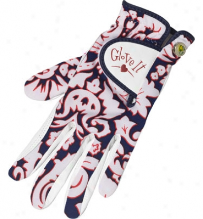 Glove It Womens Navy Hibiscus Golf Glove