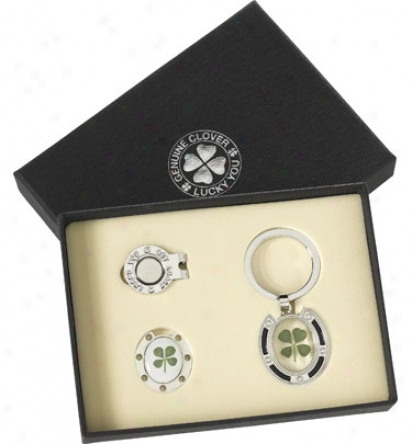 Good Luck Brand 4 Leaf Clober Gift Offer for sale With Clover Keychain And Hat Clip