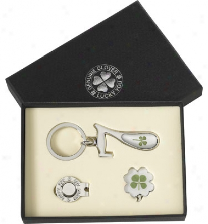 Good Luck Brand 4 Leaf Clover Gift Set With Lucky 7 Keychain And Hat Clip