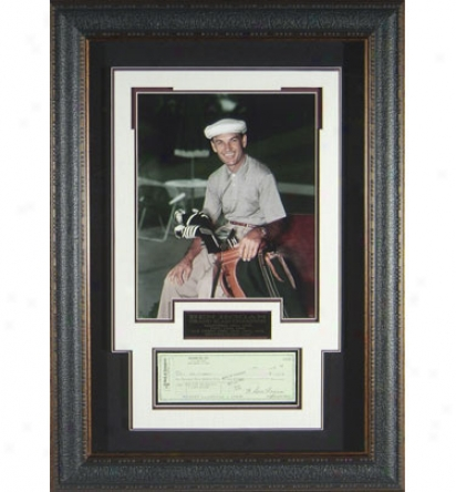 Gotta Have It Golf Ben Hogan Seated With Signed Bank Check Poortrait