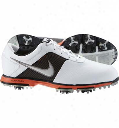 Nike Mens Lunar Control - White/sivler/black/orange Golf Shoes