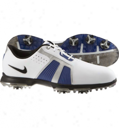 Nike Mens Zoom Trophy Ii - White/black/blue/silver Golf Shoes