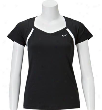 Nike Tennis Womens Short Sleeve Border Top