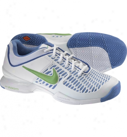 Nike Tennis Womens Zoom Breathe 2k10 Tennis Suoes (white/blue/green)