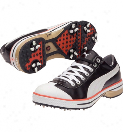 Puma Mens Club 917 - Black/white/cherry Tomatoe Golf Shoes